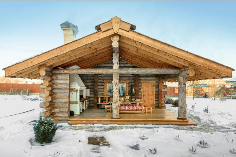 Баня с верандой и печкой для барбекю – выбор места и материала, примеры планировки