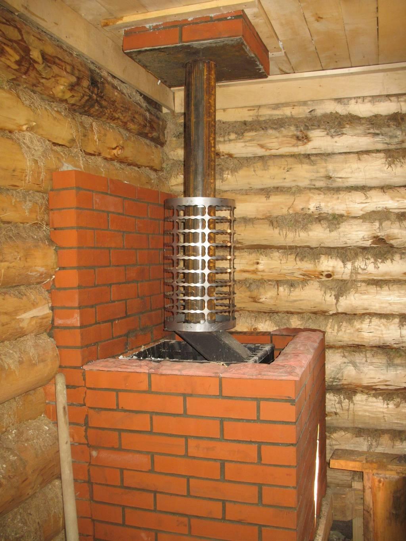 Установка печи с выносной топкой в деревянной или кирпичной бане своими руками