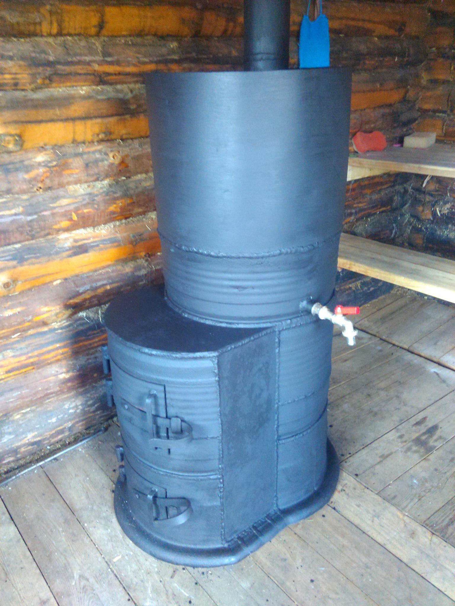 Печи для бани из трубы, газового баллона, дисков или бочки своими руками: чертеж и пошаговая инструкция