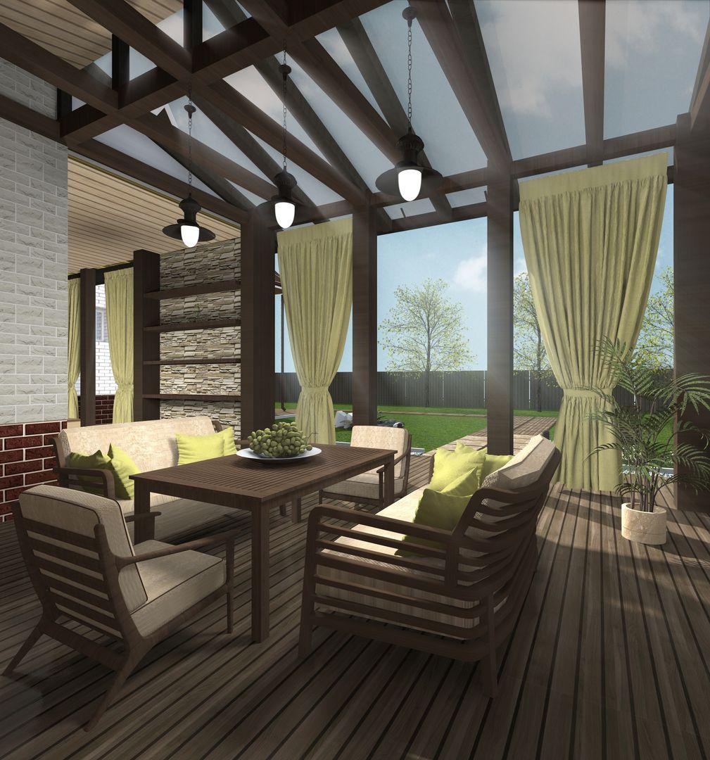 Проекты бани с комнатой отдыха и террасой: веранда из бруса с барбекю, беседка с мангалом, бассейн под одной крышей