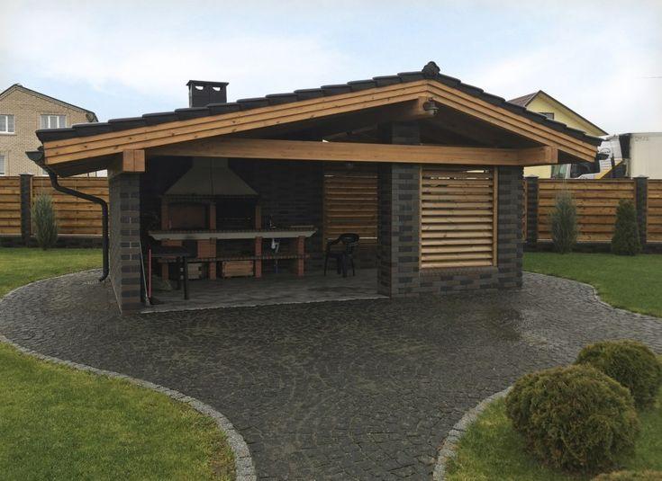 Проект бани с беседкой под одной крышей (99 фото): пристроенные варианты с барбекю и мангалом под общей крышей, пристройка в виде навеса