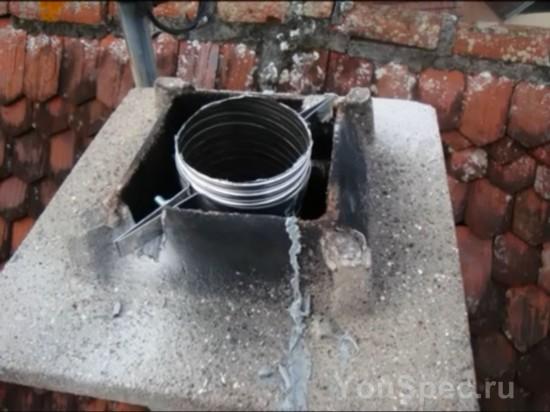 Процесс гильзования кирпичного дымохода нержавеющей трубой