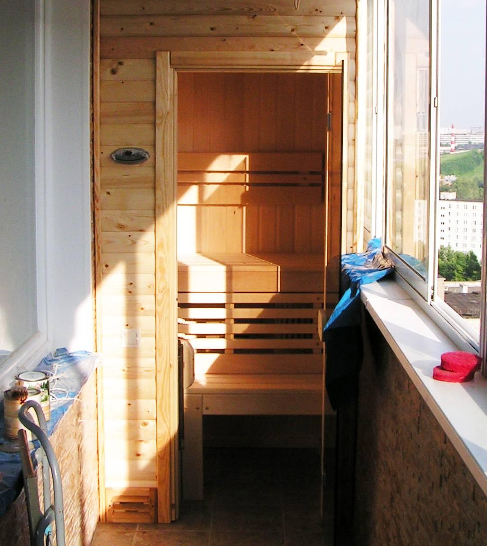 Сауна на балконе (39 фото): как сделать своими руками в комнате с окном, как построить на лоджии, отзывы