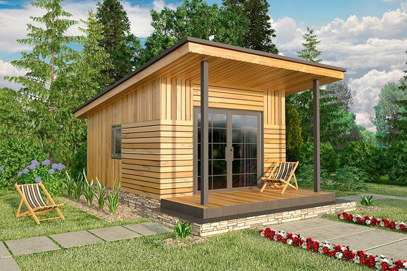 Беседка пристроенная к бане с односкатной крышей - строим сами