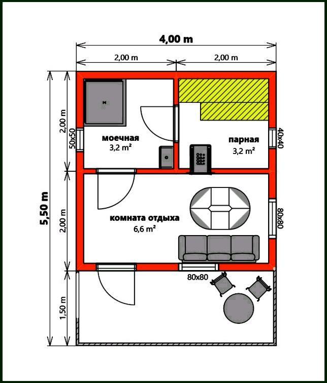Баня 4 на 5: проект, планировка и фото