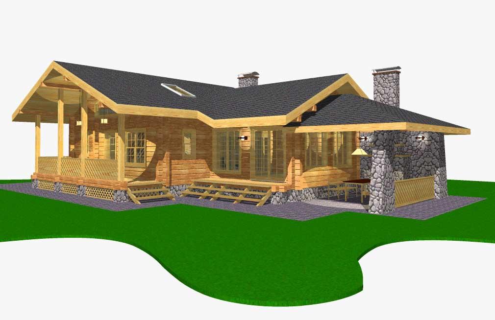 Проект угловой бани из бревна с бильярдной «причуда-2». баня г образная