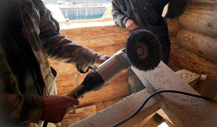 Шлифовка сруба из бруса или бревна