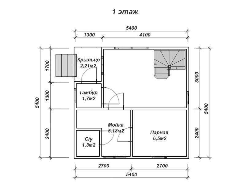 Баня 4 на 5: проект и планировка