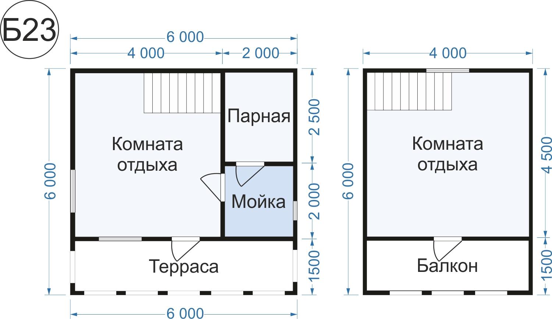 Баня с мансардой размером 6х6