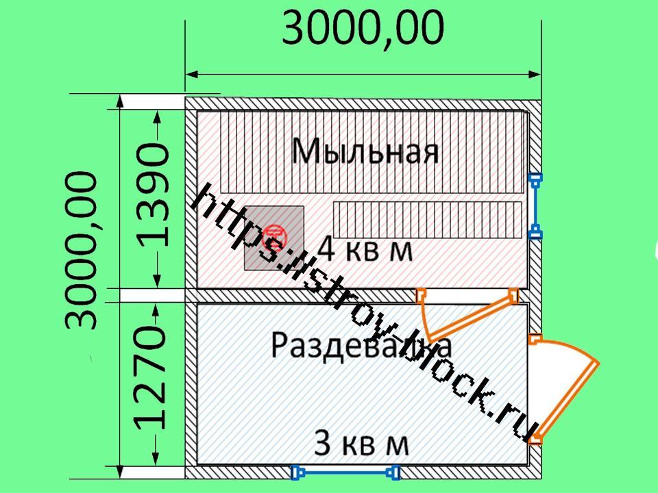 Планировка бани 3 на 3 внутри и снаружи