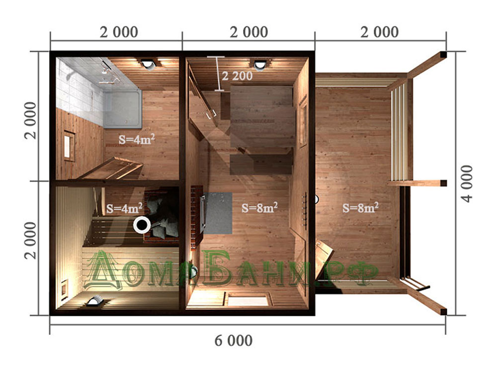 Планировка и обустройство бани размером 2 на 4 м