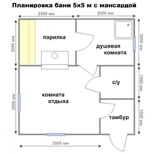 Планировка бани размером 4х6