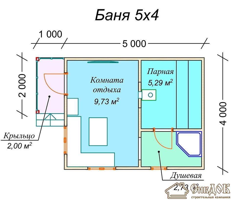 Баня с верандой, сруб 5х4+2