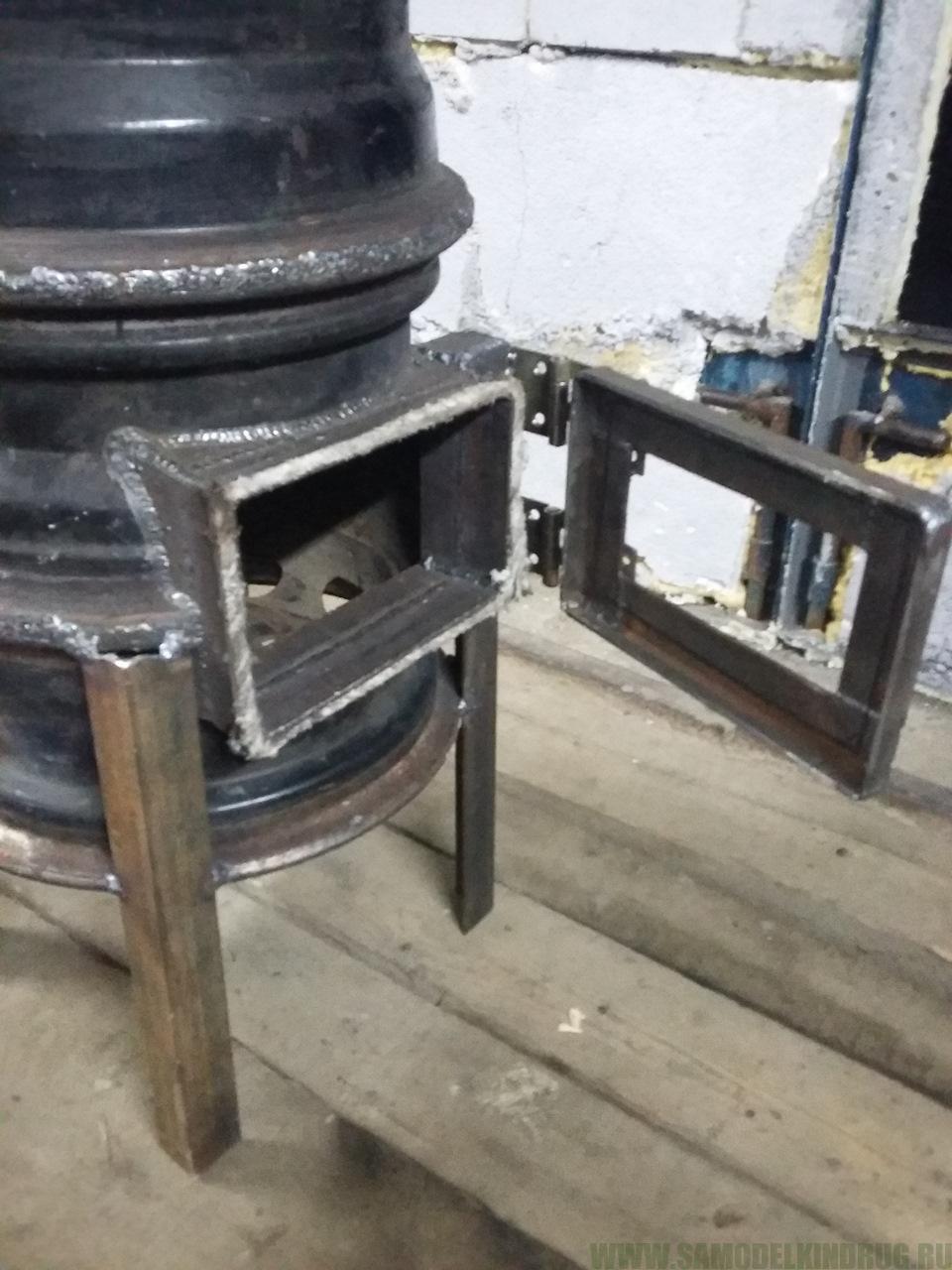 Печка из камазовских дисков своими руками
