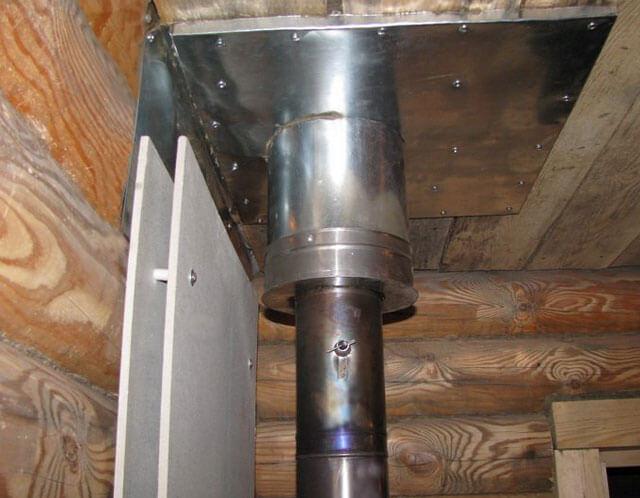 Как выглядит установка трубы в бане?