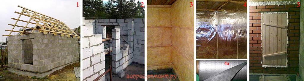 Утепление бани из газосиликатных и керамзитобетонных блоков