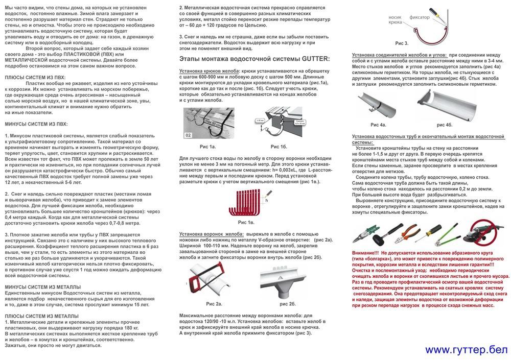 Монтаж пластиковой водосточной системы - пошаговая инструкция