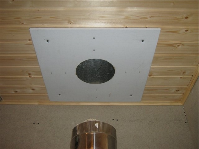 Как установить трубу в бане через потолок