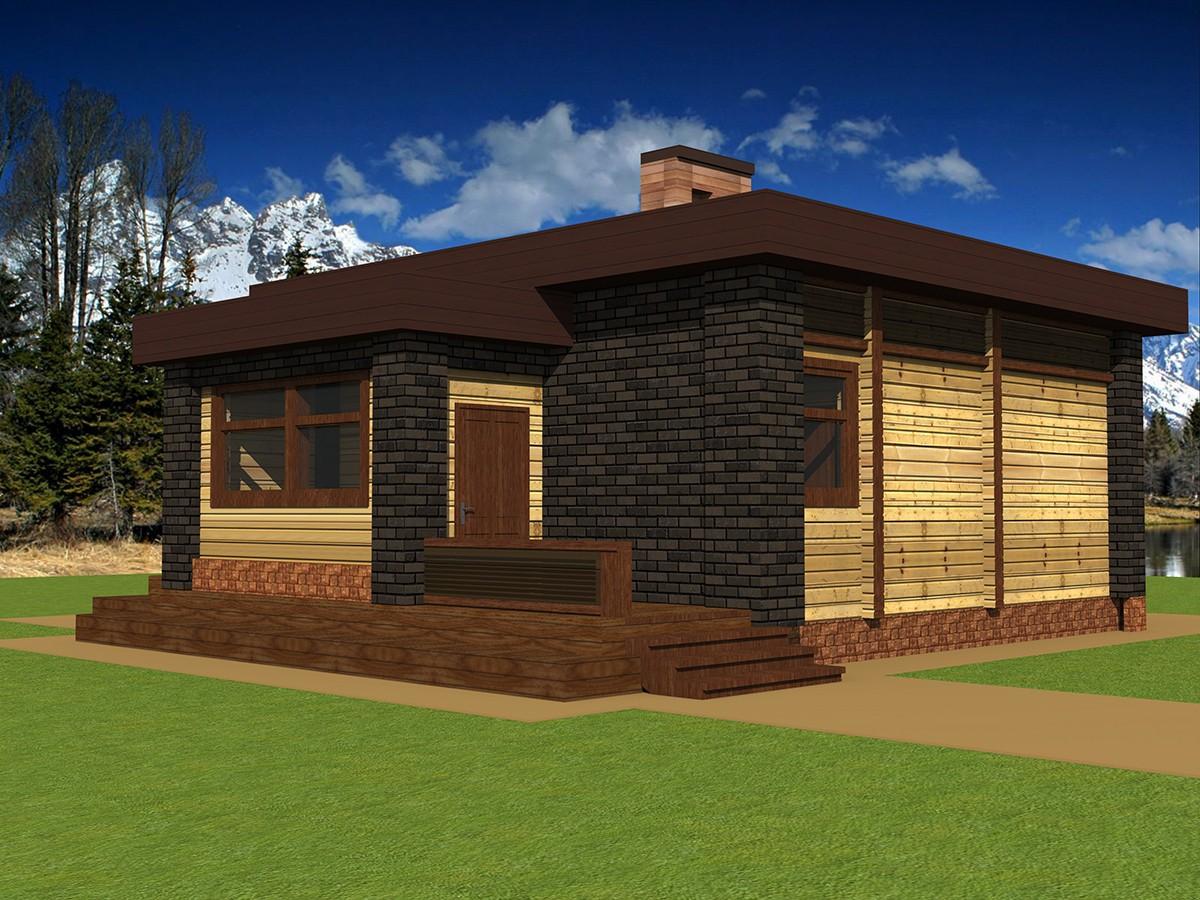Проект небольшой бани: баня 6х12 с террасой, барбекю и комнатой отдыха