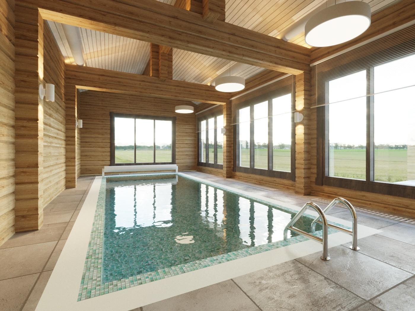 Небольшая баня с бассейном