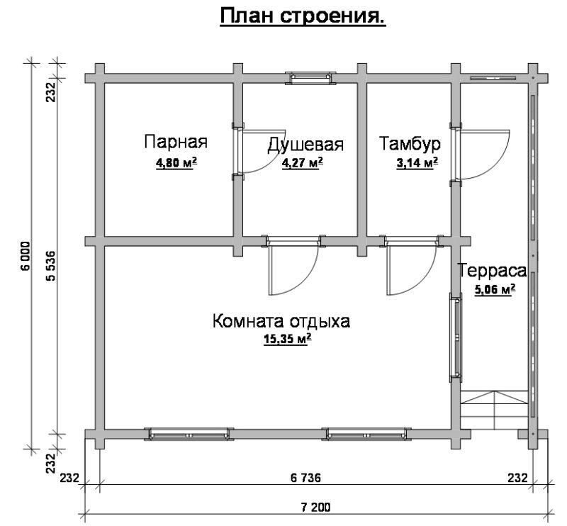 Проекты бань 6х6