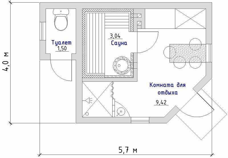 Проекты одноэтажных бань - 11 вариантов!