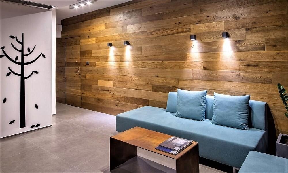 Ламинат на стене спальни, способы укладки с фото