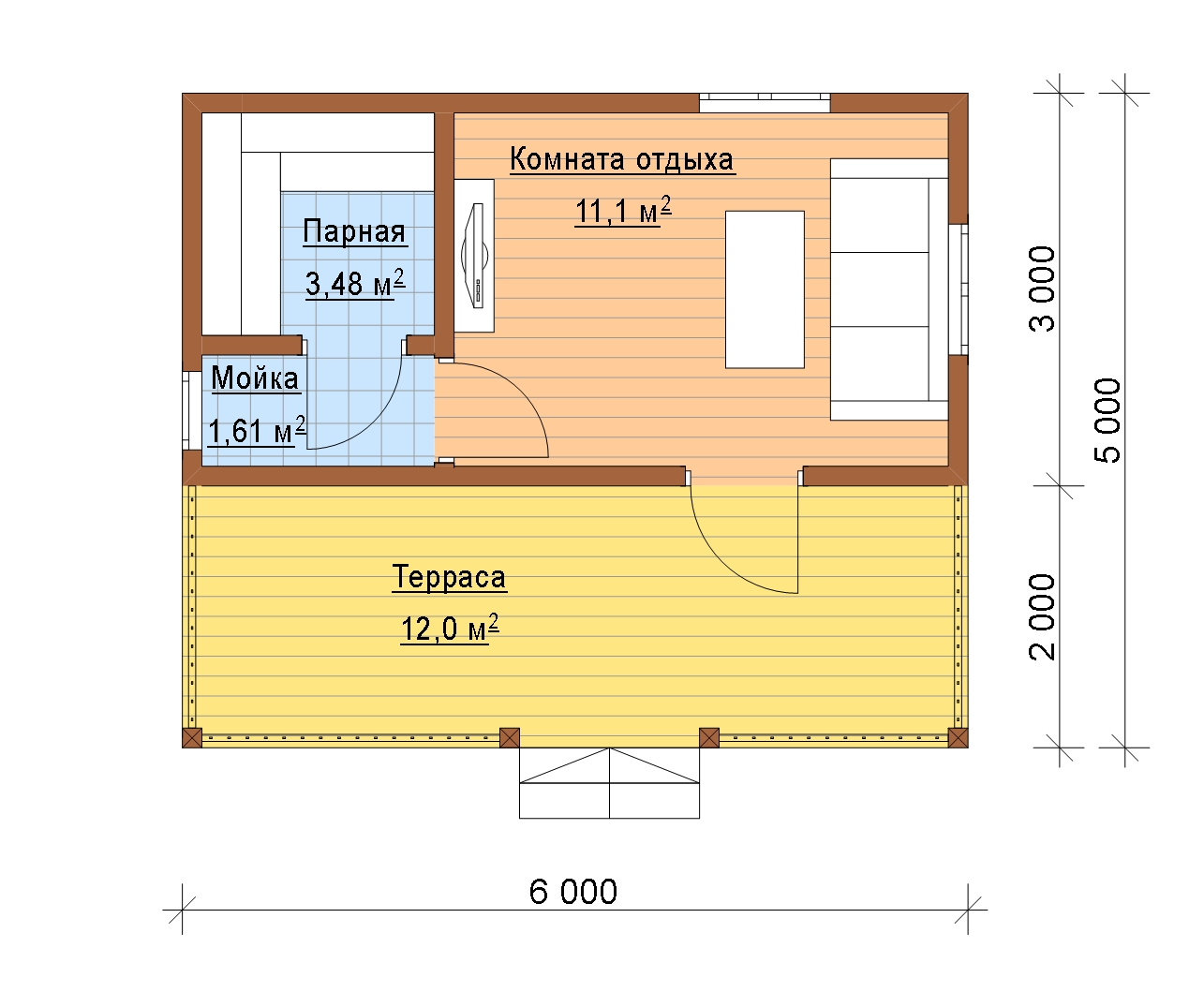 Планировка бани размером 4х6 с раздельной мойкой и парилкой