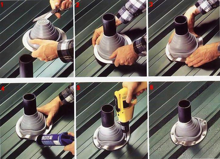 Проход дымохода через кровлю из металлочерепицы — способы устройства, схемы, пошаговая инструкция