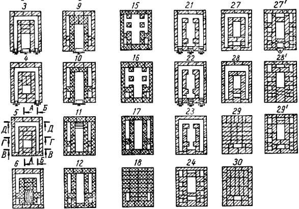 Печи кузнецова с хлебной камерой, с лежанкой: порядовки и чертежи