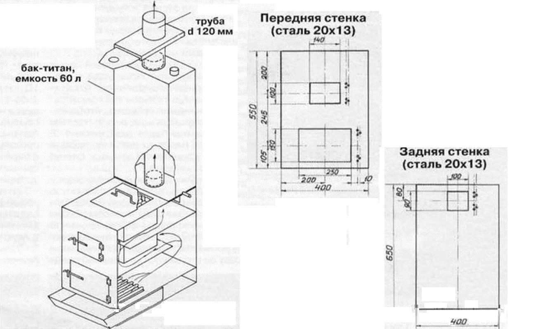 Печь для бани своими руками из металла: чертежи с размерами, фото банной железной печки, как сварить металлическую конструкцию