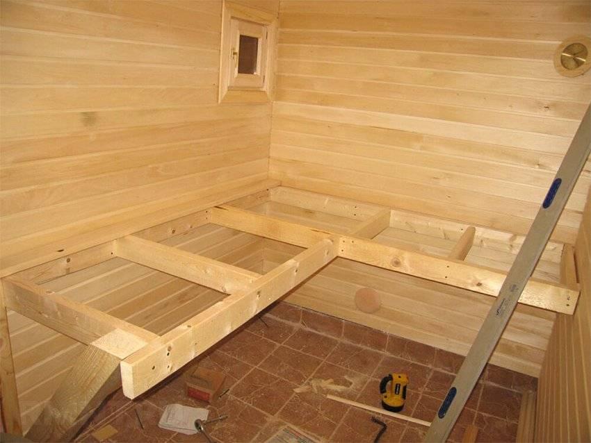 Полок в баню своими руками: пошаговая инструкция по сборке и установке – советы по ремонту