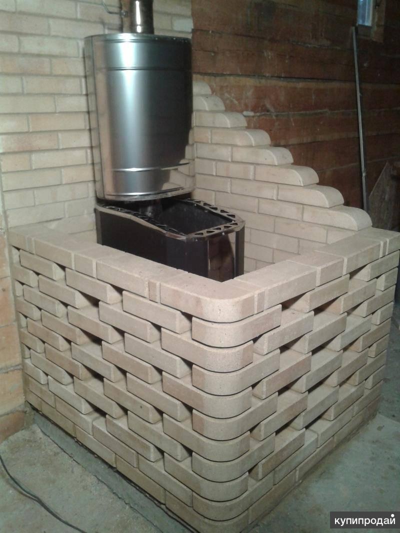 Как обложить металлическую печь в бане кирпичом?
