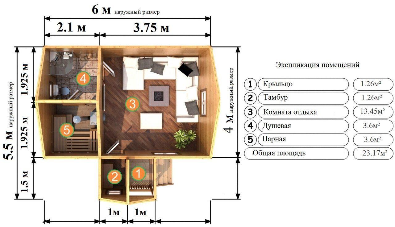 Проект бани из бруса 6х4: особенности составления, постройки и планировки, фото