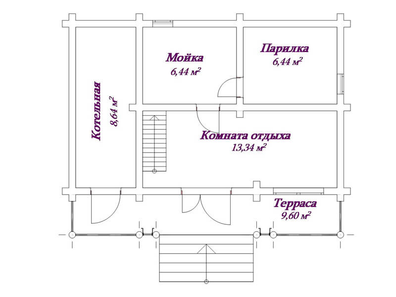 Планировка бани: мойка и парилка отдельно - чертежи, видео
