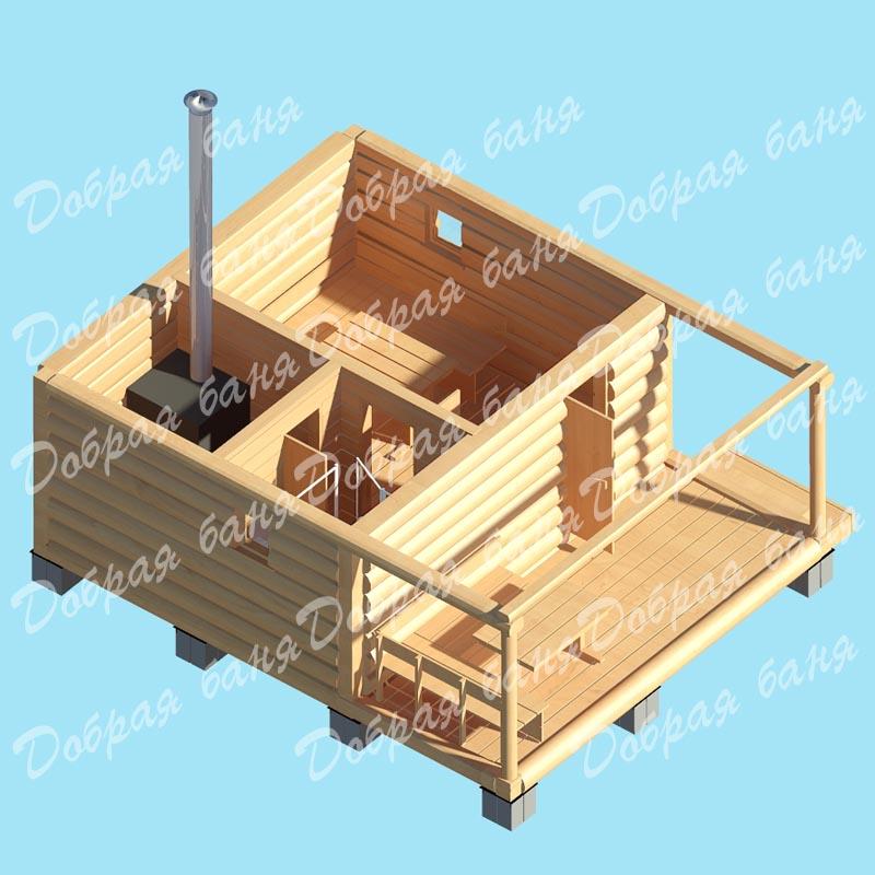 Строительство бани с мансардой и террасой