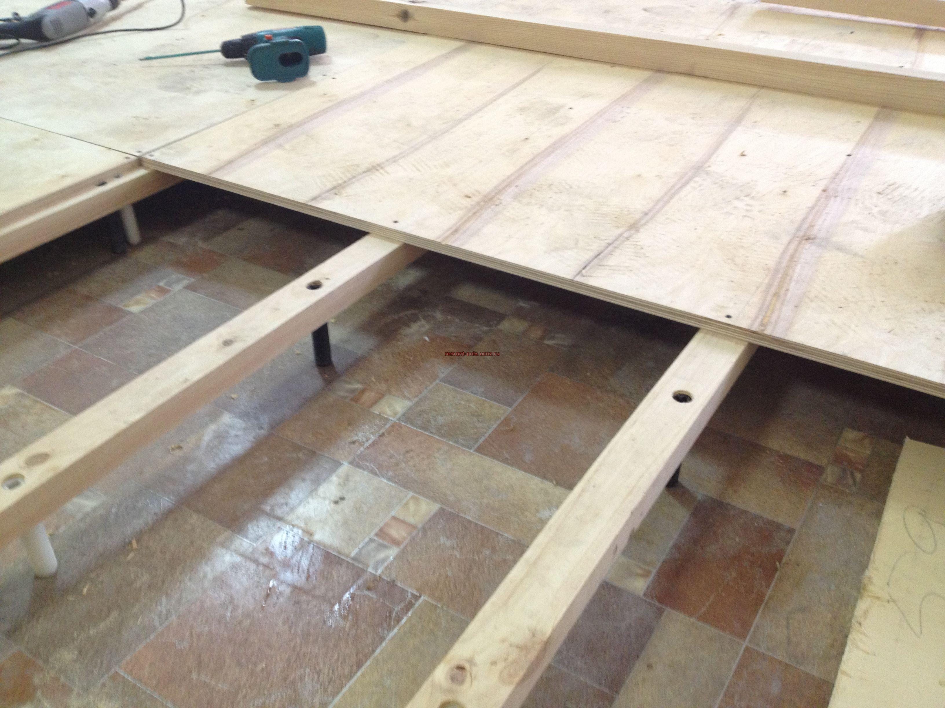 Бетонный пол на деревянных лагах в бане