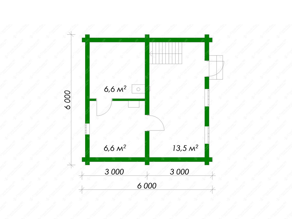 Проект бани 6х6 с мансардой - варианты планировки