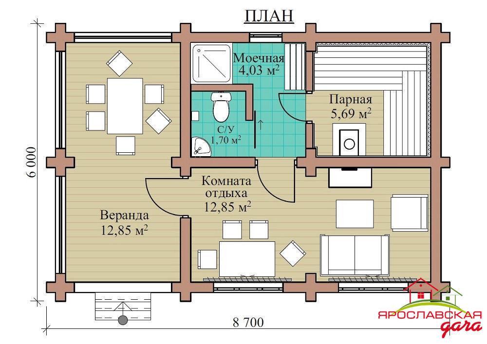 Бани с комнатой отдыха и спальней: проекты и дизайн одноэтажных бань, фото