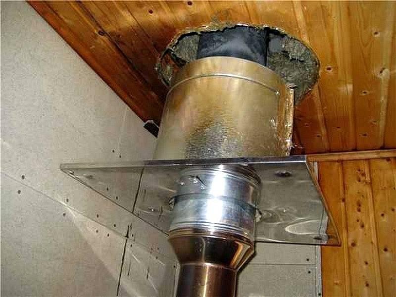 Ведём правильный монтаж дымовой трубы в бане: проходим через потолок и крышу