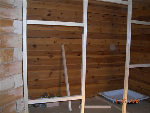 Строительство каркасной перегородки в бане-срубе: порядок работ