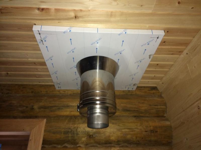 Как сделать трубу дымохода в бане через потолок?