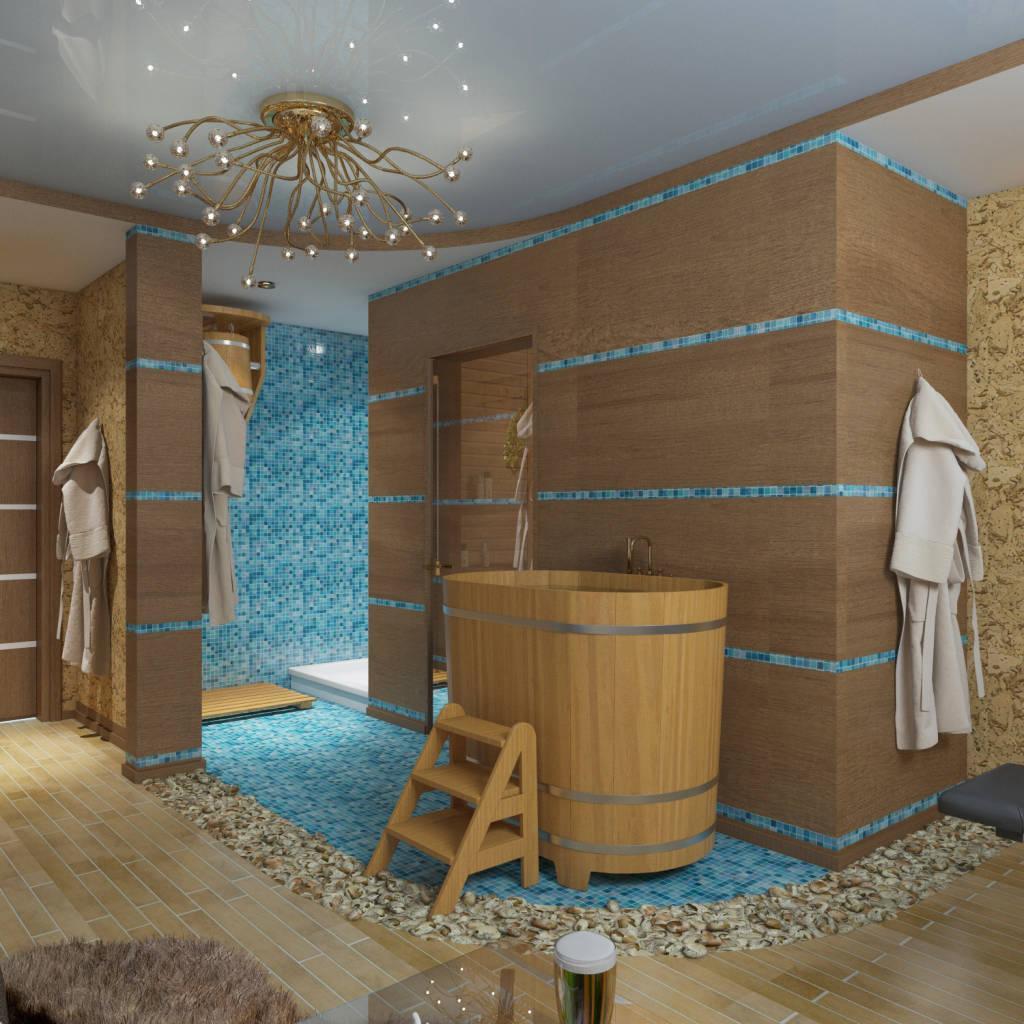 Интерьер бани (59 фото): оформление интерьера внутри помывочной русской парилки и предбанника, дома-бани в современных стилях