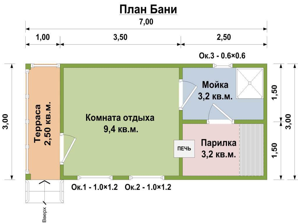 Баня 4 на 4 планировка внутри