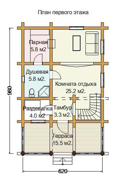 Двухэтажная баня (40 фото): конструкции с жилыми зимними комнатами, угловой дом с верандой и террасой 6х6 и 6х8