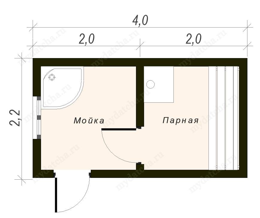Проекты бань из бруса 3х4 - чертеж и описание!