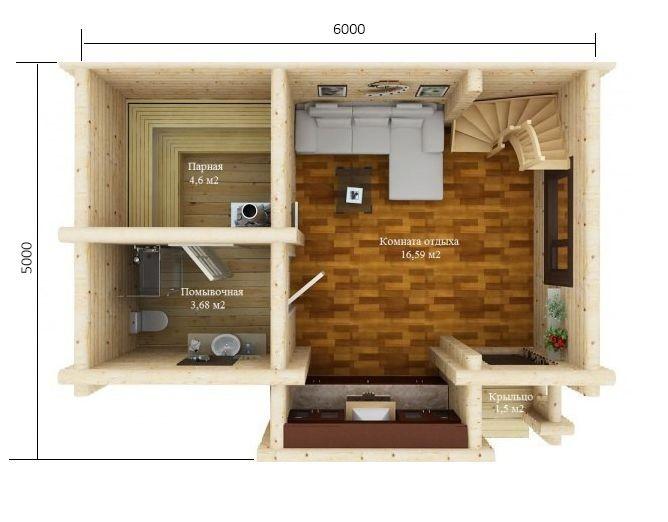 Устройство моечного отделения в бане