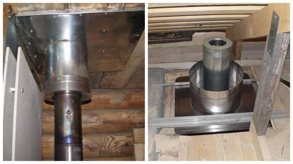 Монтаж трубы в бане через потолок