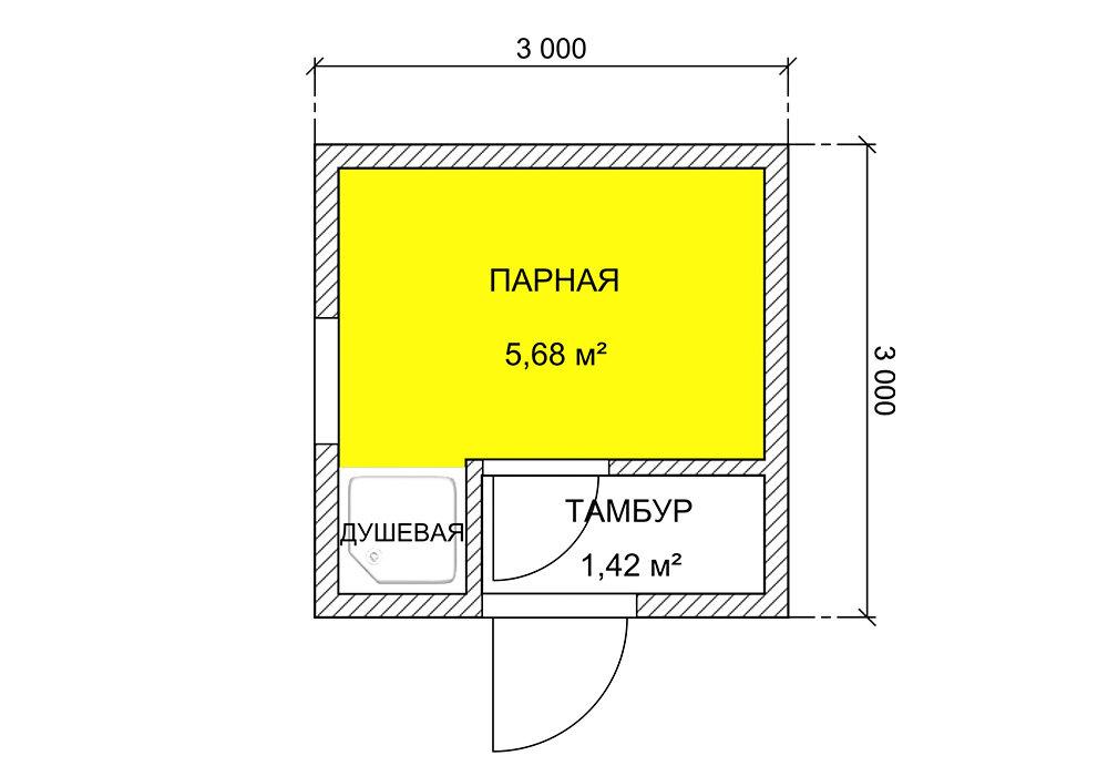 Баня размером 3 на 3: фото планировок
