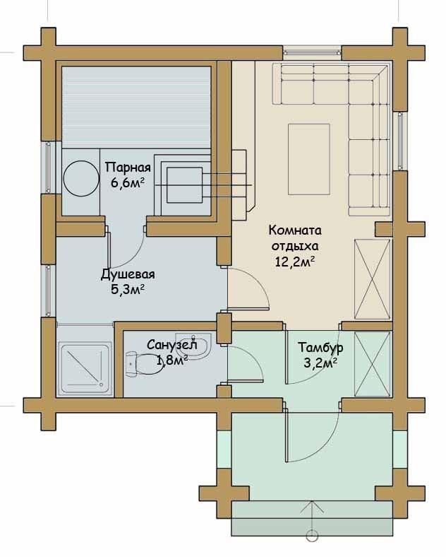 3 проекта бани с жилой комнатой [+фото]